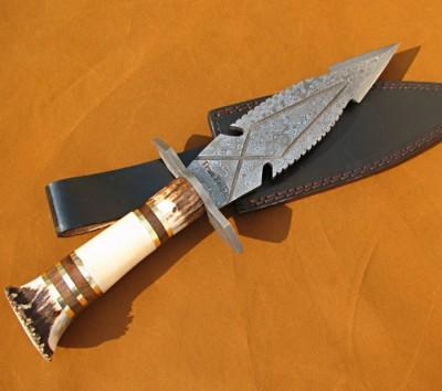 Custom Handmade Stag Crown Antler Damascus Dagger