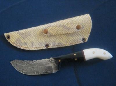 Pocket Damascus Knife With Sheath
