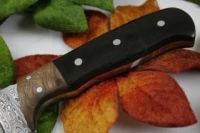 Damscus Pocket Knife Bull Horn Handle