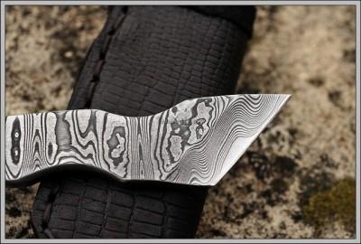 Damascus Bottle Opener Knife