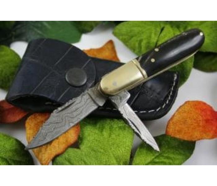 twin blades damascus folding knife full