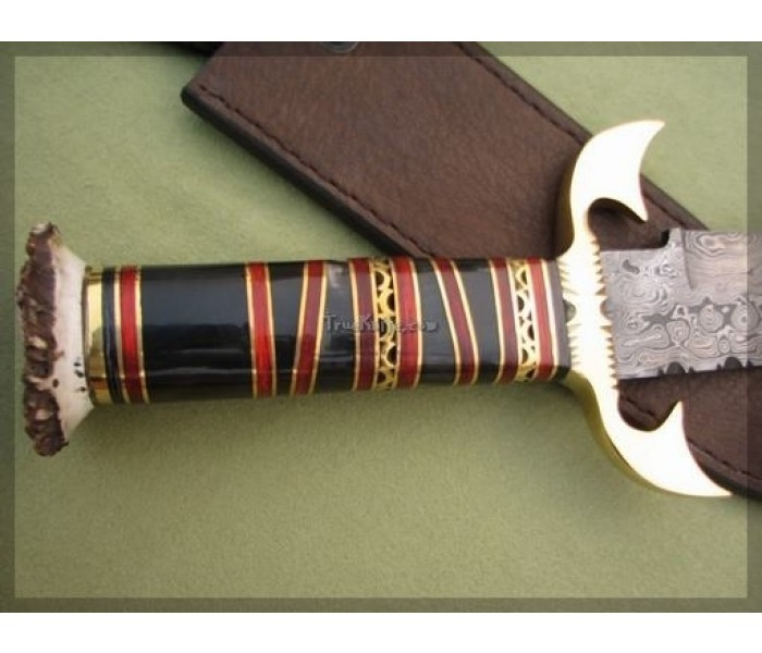 Damascus Bowie Hunting Knife handle