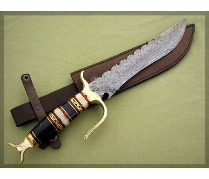 Steel Damascus Bowie Knife with sheath