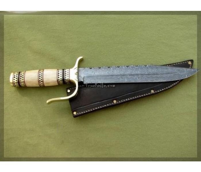 Bowie Knife camel bone handle full