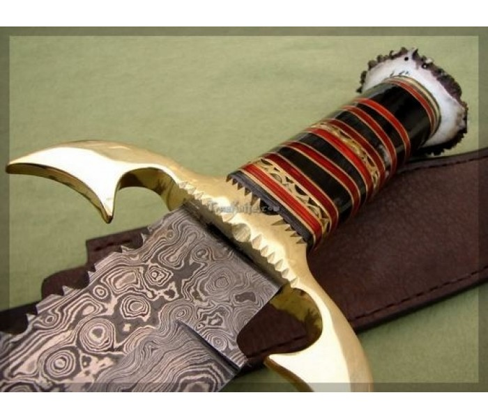 Damascus Bowie Hunting Knife close image