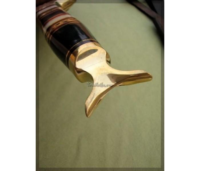 Steel Damascus Bowie Knife handle1