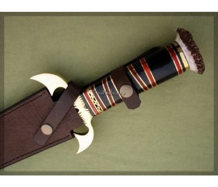 Damascus Bowie Hunting Knife with sheath