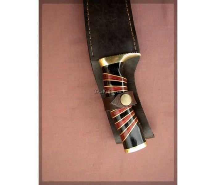 Red & Black Stripe Damascus Knife