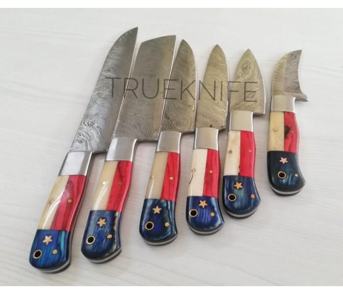 Damascus Kitchen Knife set flag handle